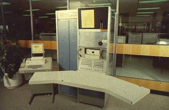 PDP-7 S#47 on display in the DEC Sydney office around 1989 - ©2009 Max Burnet, click for larger image