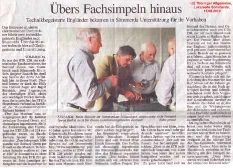 Original Thüringer Allgemeine press article, click image for a larger version
